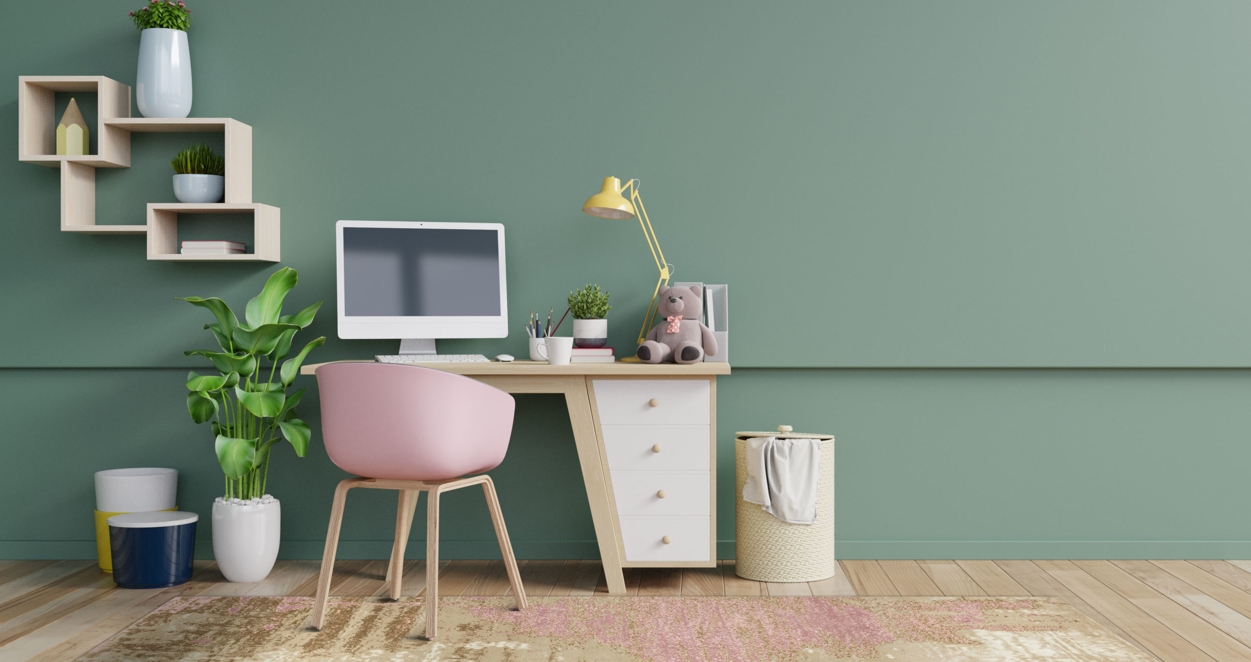 Office room with a pastel background.3D Rendering